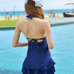 ชุดว่ายน้ำวันพีช พร้อมส่ง :ชุดว่ายน้ำแฟชั่นสีน้ำเงินแต่งซีทรู ผูกคอด้านหลังมีกางเกงใส่ด้านในแบบสวย. sexyมากๆจ้า:รอบอก30-38 เอว30-38 สะโพก34-42นิ้วจ้า