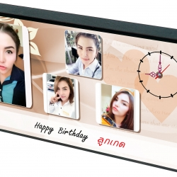 ของขวัญวันเกิด นาฬิการูปภาพตัวเอง กรอบลอย เคลือบด้าน ขนาด 6x12 นิ้ว