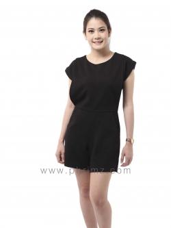ชุดให้นม Phrimz : Popcorn breastfeeding jumpsuit - Black สีดำ