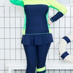 ชุดว่ายน้ำคนอ้วน แบบสปอร์ตพร้อมส่ง :ชุดว่ายน้ำไซส์ใหญ่สีน้ำเงินเขียวแขนขายาว กางเกงขายาวแต่งกระโปรงระบาย แบบเก๋น่ารักมากๆจ้า:รายละเอียดไซส์คลิกเลยจ้า