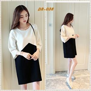 ชุดเดรสคลุมท้อง แฟชั่นเกาหลี ขาว ดำ ผ้าหนา เรียบหรู M,L,XL,XXL