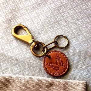 พวงกุญแจทองเหลืองหนังแท้ มี Clip