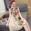 ชุดคลุมท้องคอจีน ผ้าฝ้ายพิมพ์ลายดอกไม้สวยงาม ด้านข้างผ้าพริ้วสวย M L XL XXL