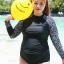 ชุดว่ายน้ำคนอ้วน พร้อมส่ง :ชุดว่ายน้ำสีดำแขนยาวแต่งลาย set 4 ชิ้นมีเสื้อแขนยาว บรา กางเกงบิกินี่ด้านใน กางเกงขาสั้น แบบเก๋น่ารักมากๆจ้า:รายละเอียดไซส์คลิกเลยจ้า thumbnail 4