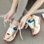 รองเท้าผ้าใบพื้นหนาผูกเชือกสีสดใส thumbnail 1
