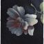 Sold เดรสยาว แขนกุด ต่อใต้อก เข้าเอว ซิปข้าง ผ้าซาติน สีน้ำเงินกรมท่า ลายดอก thumbnail 2