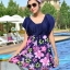 ชุดว่ายน้ำคนอ้วนพร้อมส่ง : ชุดว่ายน้ำแฟชั่นสีน้ำเงินแต่งลายดอกไม้สีชมพู กางเกงขาสั้นใส่ด้านใน น่ารักมากๆจ้า:มี Size 4XL,5XL รายละเอียดไซส์คลิกเลยจ้า thumbnail 1