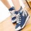 รองเท้าผ้าใบหุ้มข้อเสริมสูงสไตล์เกาหลี thumbnail 1