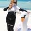 ชุดว่ายน้ำคนอ้วน พร้อมส่ง :ชุดว่ายน้ำไซส์ใหญ่แบบสปอร์ตสีดำขาวแต่งลายอักษร set 5 ชิ้นมีเสื้อแขนยาว บรา บิกินี่ กางเกงขาสั้น กางเกงขายาว แบบสวยคุ้มสุดๆจ้า:รายละเอียดไซส์คลิกเลยจ้า thumbnail 3