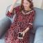 ชุดคลุมท้องผ้าชีฟอง ลายอมยิ้มรูปหัวใจ น่ารักผ้าดี มีซับใน M L XL XXL