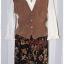 เดรส ผ้าตัดต่อ เสื้อคอปก แขนยาว สีขาว น้ำตาล เอวจั๊ม กระโปรง สีดำ ลายดอก thumbnail 1