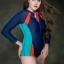 ชุดว่ายน้ำวันพีช ไซส์ใหญ่แบบสปอร์ตพร้อมส่ง :ชุดว่ายน้ำคนอ้วนสีน้ำเงินแต่งสีส้มและเขียวน้ำทะเลแขนยาว. ซิปหน้าแบบสวย sexyมากๆจ้า:รอบอก36-44นิ้ว เอว34-44นิ้ว สะโพก38-46นิ้ว thumbnail 5