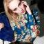 ((พร้อมส่ง)) เสื้อผ้าแฟชั่นผู้หญิง : เสื้อเชิ้ตแฟชั่นสีฟ้า แต่งลายดอกไม้หลากสีสัน น่ารัก น่ารักจ้า thumbnail 1