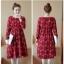 ชุดคลุมท้องน่ารัก แขนยาว ลายช่อดอกไม้ สีแดง ผ้านิ่ม เนื้อดี มีกระเป๋าาข้าง M,L,XL,XXL