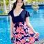 ชุดว่ายน้ำแฟชั่นพร้อมส่ง :ชุดว่ายน้ำแฟชั่นสีน้ำเงินชมพูแต่งดอกไม้สีสันสดใส กางเกงขาสั้นใส่ด้านในน่ารักมากๆจ้า:มี Size 3XL , 6XL รายละเอียดคลิกเลยจ้า thumbnail 1