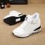 รองเท้าผ้าใบเสริมสูง Velcro หนัง Pu thumbnail 4