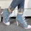รองเท้าผ้าใบหุ้มข้อส้นสูงแฟชั่นเกาหลี thumbnail 1