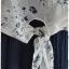 เดรส ผ้าต่อ เสื้อชีฟอง สีขาว พิมพ์ลาย เอวจั๊ม กระโปรง สีน้ำเงินกรมท่า thumbnail 2