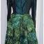 เดรส ผ้าต่อ เสื้อแขนยาว เข้าเอว ซิปหลัง สีเขียวเข้ม กระโปรง ผ้าแก้ว พิมพ์ลาย แต่งโบว์ thumbnail 3