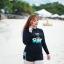 ชุดว่ายน้ำคนอ้วน แบบสปอร์ตพร้อมส่ง :ชุดว่ายน้ำไซส์ใหญ่สีดำแขนยาวแต่งลายอักษรขอบฟ้า set 4 ชิ้น มีเสื้อแขนยาว บรา บิกินี่ กางเกงขาสั้น แบบสวยน่ารักมากๆจ้า:รายละเอียดไซส์คลิกเลยจ้า thumbnail 5