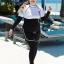 ชุดว่ายน้ำคนอ้วน พร้อมส่ง :ชุดว่ายน้ำไซส์ใหญ่แบบสปอร์ตสีดำขาวแต่งลายอักษร set 5 ชิ้นมีเสื้อแขนยาว บรา บิกินี่ กางเกงขาสั้น กางเกงขายาว แบบสวยคุ้มสุดๆจ้า:รายละเอียดไซส์คลิกเลยจ้า thumbnail 1