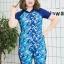 ชุดว่ายน้ำคนอ้วน แบบสปอร์ตพร้อมส่ง :ชุดว่ายน้ำไซส์ใหญ่แขนสั้นสีฟ้า .แต่งลายแบบสวยมากๆจ้า:รอบอก38-46นิ้ว เอว36-46นิ้ว สะโพก40-50นิ้ว thumbnail 1