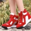 รองเท้าผ้าใบผูกเชือกส้นสูงแฟชั่นเกาหลี thumbnail 1