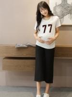 กางเกงคนท้อง ขา5ส่วนแฟชั่น สีดำ มีกระเป๋าข้าง M,XL