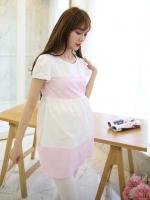 เสื้อคลุมท้อง แขนสั้น ขาวชมพู น่ารักแบ๊วค่ะ L , XL