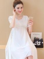 ชุดคลุมท้องผ้าฉลุสีขาว ประดับด้วยลูกปัดมุก ด้านล่างเป็นผ้าชีฟองเบาสบาย มีซับใน M,L,XL,XXL