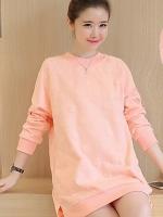 ชุดเดรสคลุมท้อง แขนยาว ผ้าหนาสีโอลโรส มีปุ่ม Dot ใหญ่ในตัวผ้า