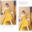 เอี๊ยมกระโปรงคลุมท้อง ยาวด้านล่างอัดพรีทสีเหลือง + เสื้อยืดสีขาว M,L,XL,XXL thumbnail 6