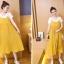 เอี๊ยมกระโปรงคลุมท้อง ยาวด้านล่างอัดพรีทสีเหลือง + เสื้อยืดสีขาว M,L,XL,XXL thumbnail 3