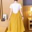 เอี๊ยมกระโปรงคลุมท้อง ยาวด้านล่างอัดพรีทสีเหลือง + เสื้อยืดสีขาว M,L,XL,XXL thumbnail 5