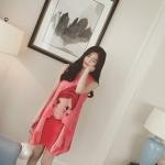 ชุดคนท้อง ผ้าชีฟอง สีชมพู สตอเบอรี่ ลายเด็ก L,XL