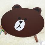 โต๊ะญี่ปุ่น ลายบราวน์ Line Brown Wooden Foldable Kids Table