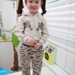 ชุดเซ็ทเสื้อมีฮูท+กางเกง ลายม้าลาย มาใหม่สไตล์เกาหลี
