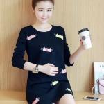 ชุดคลุมท้องแฟชั่นเกาหลี แขนยาว ลายแมวน้อย ผ้าหนานิ่ม M,L,XL