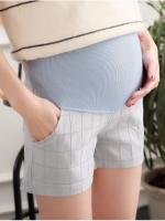 กางเกงคนท้อง ขาสั้น สีเทา ลายสก๊อต M,L,XL