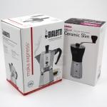 หม้อต้มกาแฟ Bialetti Moka express 4 cup + เครื่องบดกาแฟ มือหมุน Hario Slim