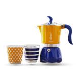 Bialetti หม้อต้ม กาแฟสด ชุด Set Fiametta pop ขนาด 3 cups สีเหลือง/น้ำเงิน