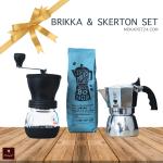 Bialetti Brikka 2 cups & Hario Skerton set