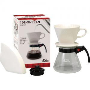 Kalita Drip Set 102 ชุดกาแฟดริปเซ็ต(ถ้วยกรองเซรามิค+glass coffee server+แผ่นกรอง)