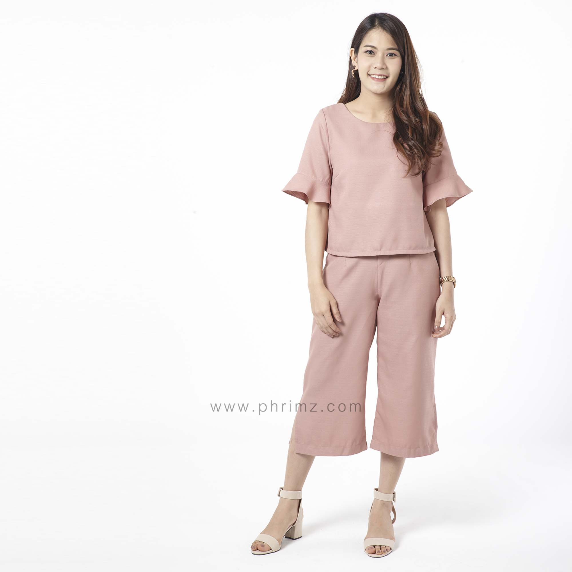 ชุดให้นม Phrimz : Eliza Breastfeeding Top with Culottes - Salmon
