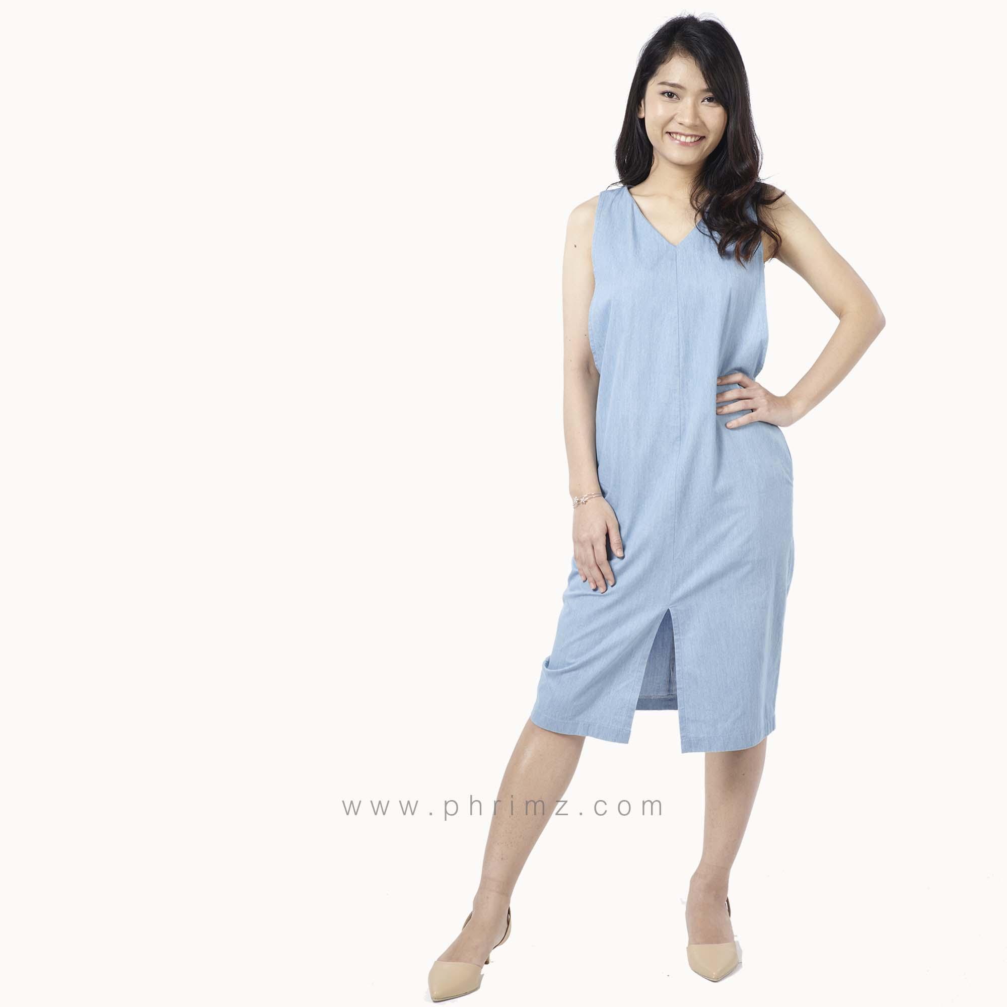 ชุดให้นม Phrimz : Kathy Breastfeeding Dress - Light Blue Jeans