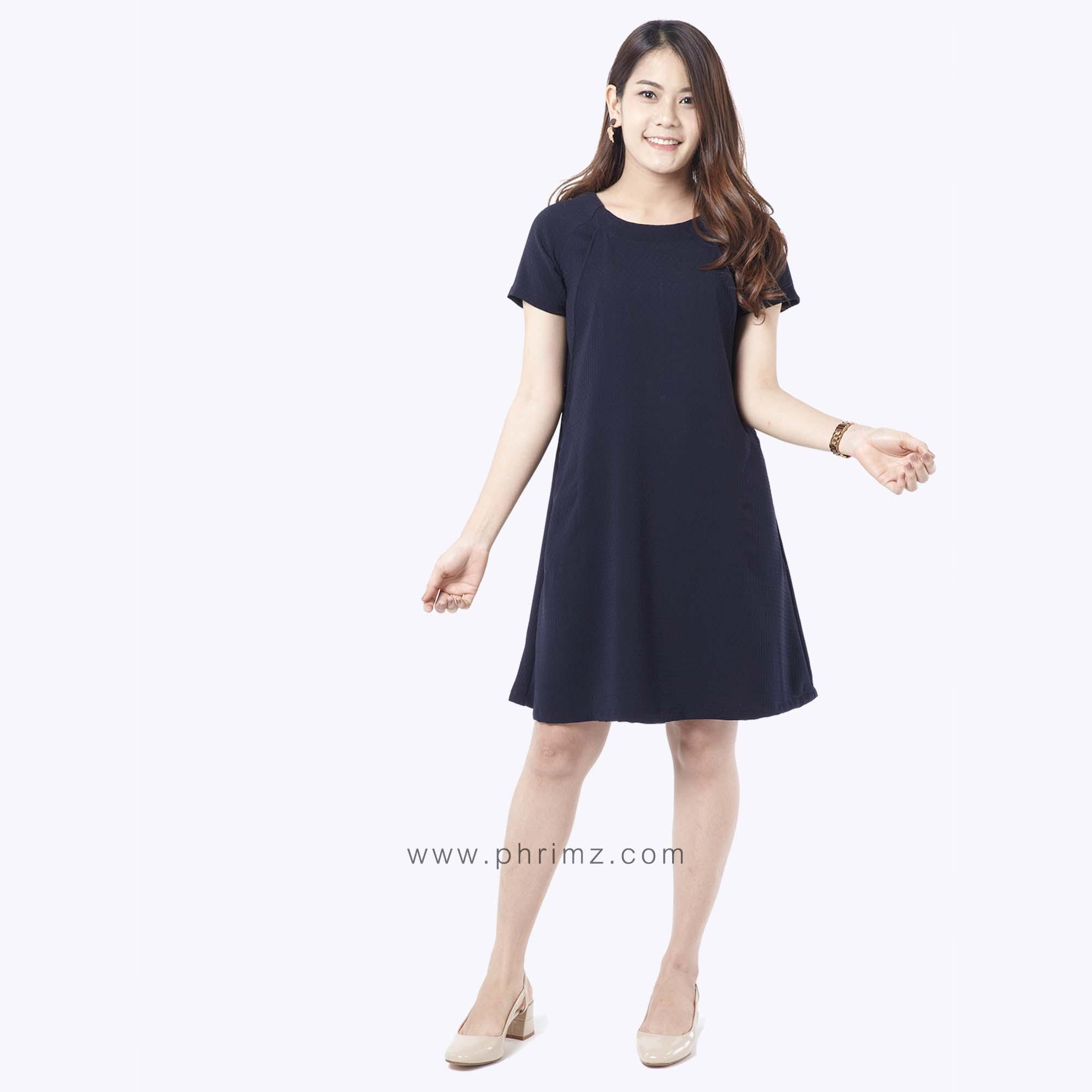 ชุดให้นม Phrimz : Elsa Breastfeeding Dress - Navy Blue