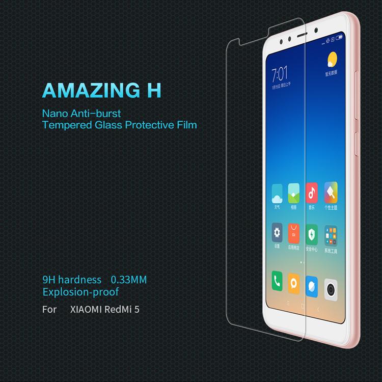 ฟิล์มกระจกนิรภัย Nillkin H สำหรับ Xiaomi Redmi 5 (ไม่เต็มจอ)