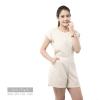 ชุดให้นม Phrimz : Popcorn breastfeeding jumpsuit - Cream สีครีม