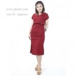 ชุดให้นม Phrimz : Muffin breastfeeding Maxi Dress - Red สีแดง