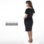 ชุดให้นม Phrimz : Velvet Breastfeeding Dress - Black สีดำ